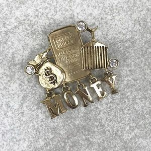 Vintage Money Spell Out Dangle Pin Brooch